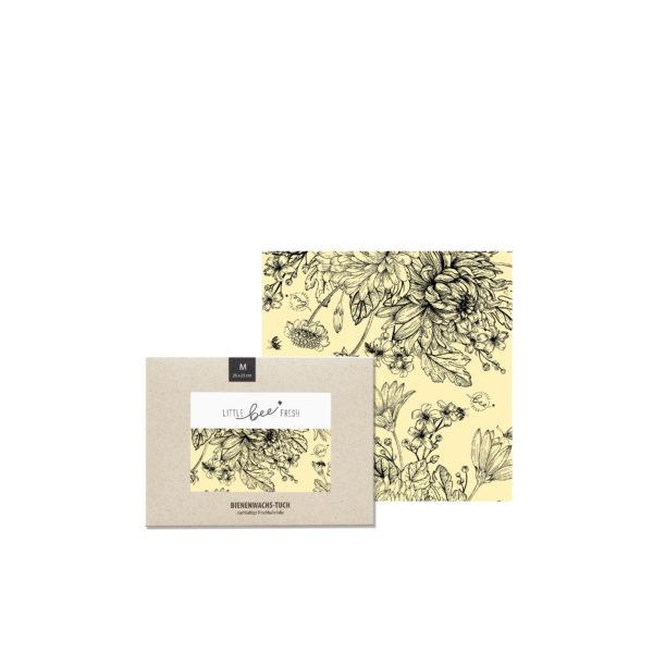 Bienenwachstuch M Blumenwiese schwarz-weiß