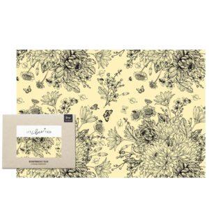 Bienenwachstuch XXL Blumenwiese schwarz-weiß